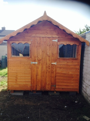 10ft x 8ft Rustic garden shed with detailed overhang roof