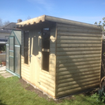 8ft x 6ft Pent roof barrel board shed with double oblong windows